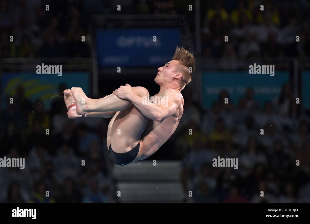 Gold Coast, Queensland, Australia. 12th April, 2018. Jack Laugher (ENG). Mens 3m springboard final. Diving. XXI Commonwealth games. Optus aquatics centre. Gold Coast 2018. Queensland. Australia. 12/04/2018. Credit: Sport In Pictures/Alamy Live News - Stock Image