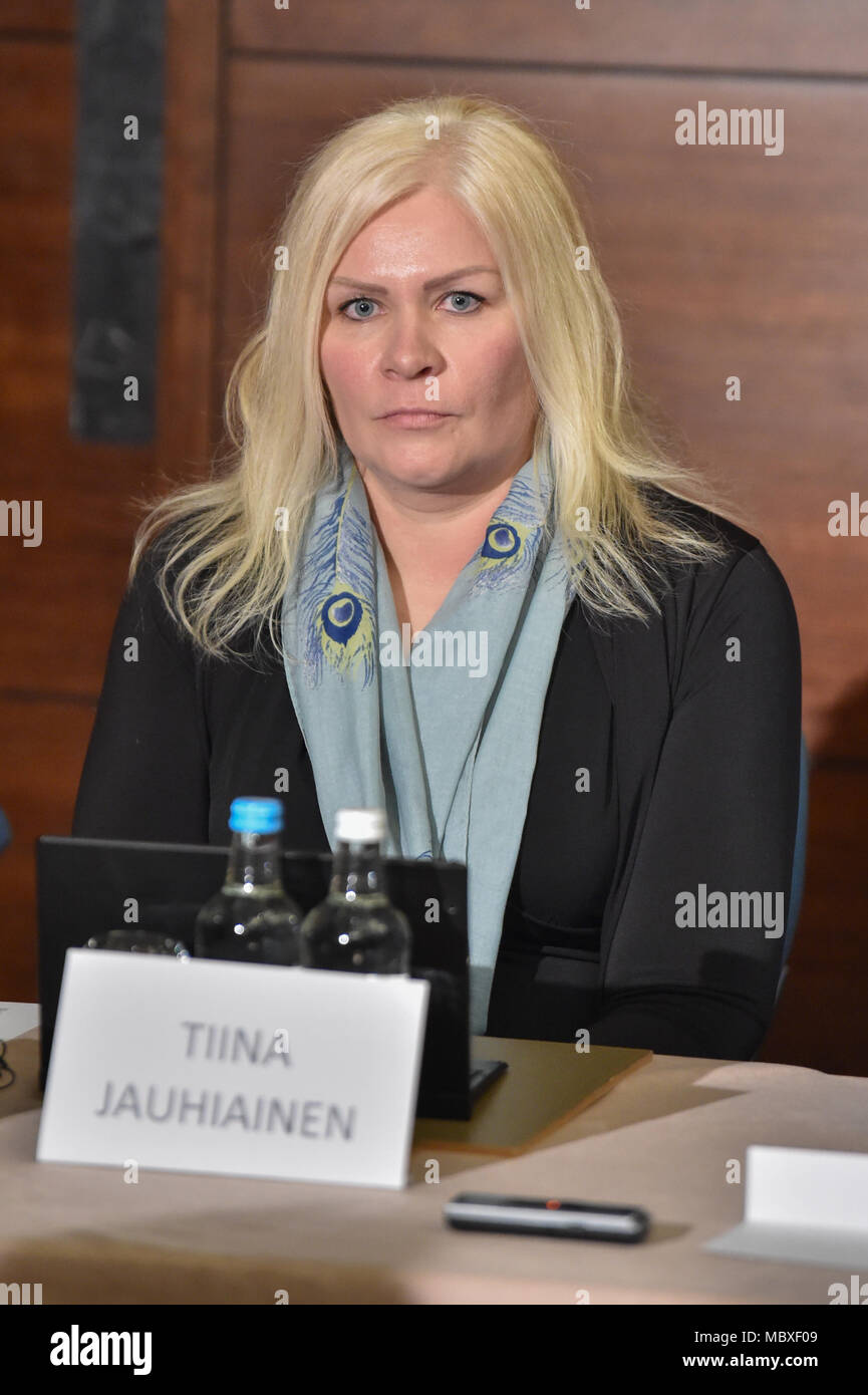 London, UK. 12 April 2018. Non-profit organisation 'Detained in Dubai' holds a press conference to discuss the status, address the media and update the public regarding the ongoing issues surrounding the escape and subsequent capture of Sheikha Latifa Al Maktoum, daughter of the ruler of the United Arab Emirates, Sheikh Mohammed bin Rashid Al Maktoum. Speakers include founder and CEO of Detained in Dubai, Radha Stirling, partner David Haigh and Toby Cadman of Guernica Chambers, alongside Tiina Jauhiaien and Hervé Jaubert. Credit: Peter Manning/Alamy Live News - Stock Image