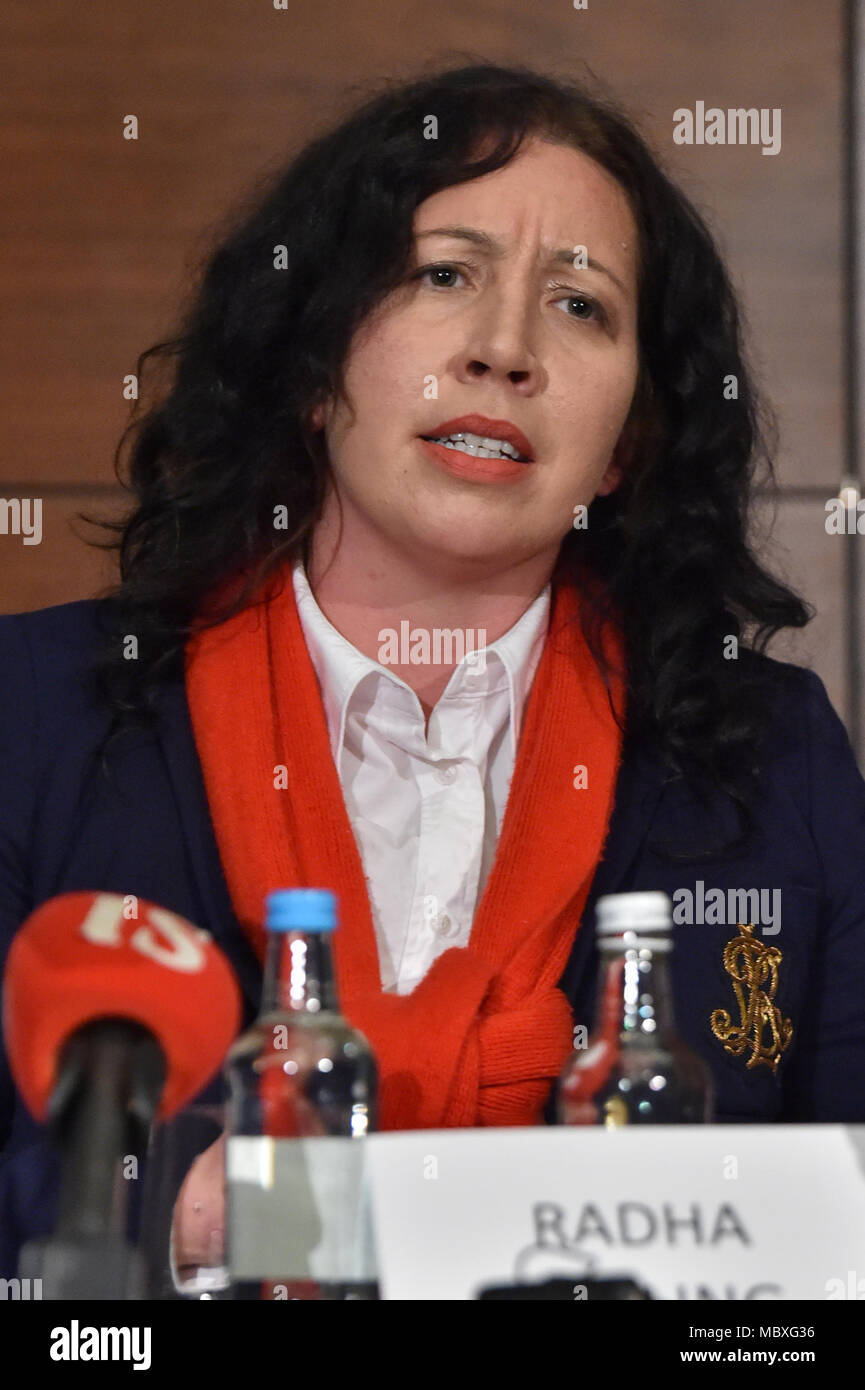 London, UK. 12 April 2018. Non-profit organisation 'Detained in Dubai' holds a press conference to discuss the status, address the media and update the public regarding the ongoing issues surrounding the escape and subsequent capture of Sheikha Latifa Al Maktoum, daughter of the ruler of the United Arab Emirates, Sheikh Mohammed bin Rashid Al Maktoum. Speakers include founder and CEO of Detained in Dubai, Radha Stirling, partner David Haigh and Toby Cadman of Guernica Chambers, alongside Tiina Jauhiaien and Hervé Jaubert. Pictured: Radha Stirling. Credit: Peter Manning/Alamy Live News - Stock Image