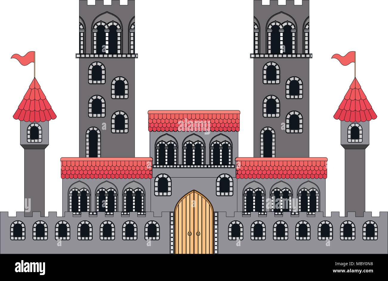 Medieval Castle With Flags Stock Vector Art Illustration Vector