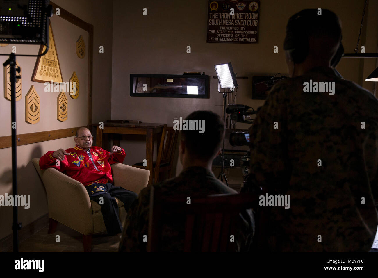 Retired Gunnery Sgt. Damaso Sutis speaks about his experience at the battle of Iwo Jima during an interview at Iron Mike's on Camp Pendleton, Calif., Jan. 17, 2018. During WWII the United Sates Marine Corps landed on and eventually captured the island of Iwo Jima from the Imperial Japanese Army, suffering heavy casualties. (U.S. Marine Corps photo by Lance Cpl. Betzabeth Y. Galvan) - Stock Image
