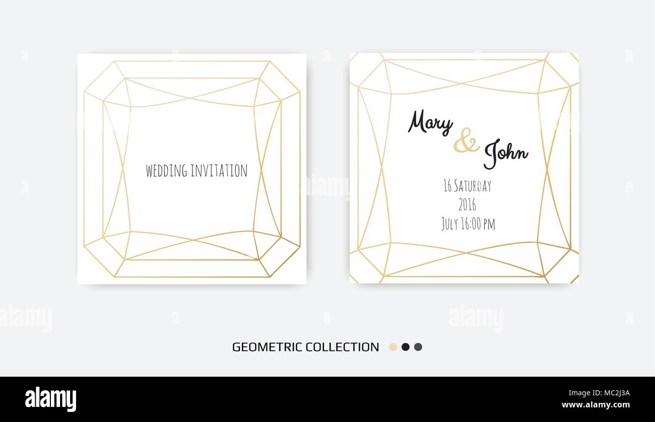 Wedding Invitation, invite card design with Geometrical art lines ...
