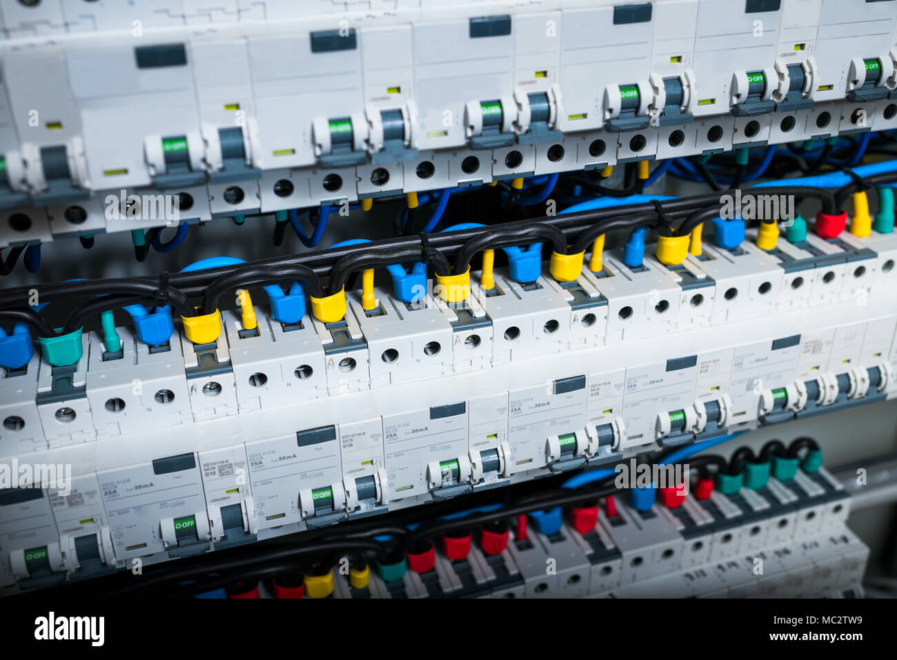 wires in electrical panel in the box Stock Photo: 179542981 - Alamy