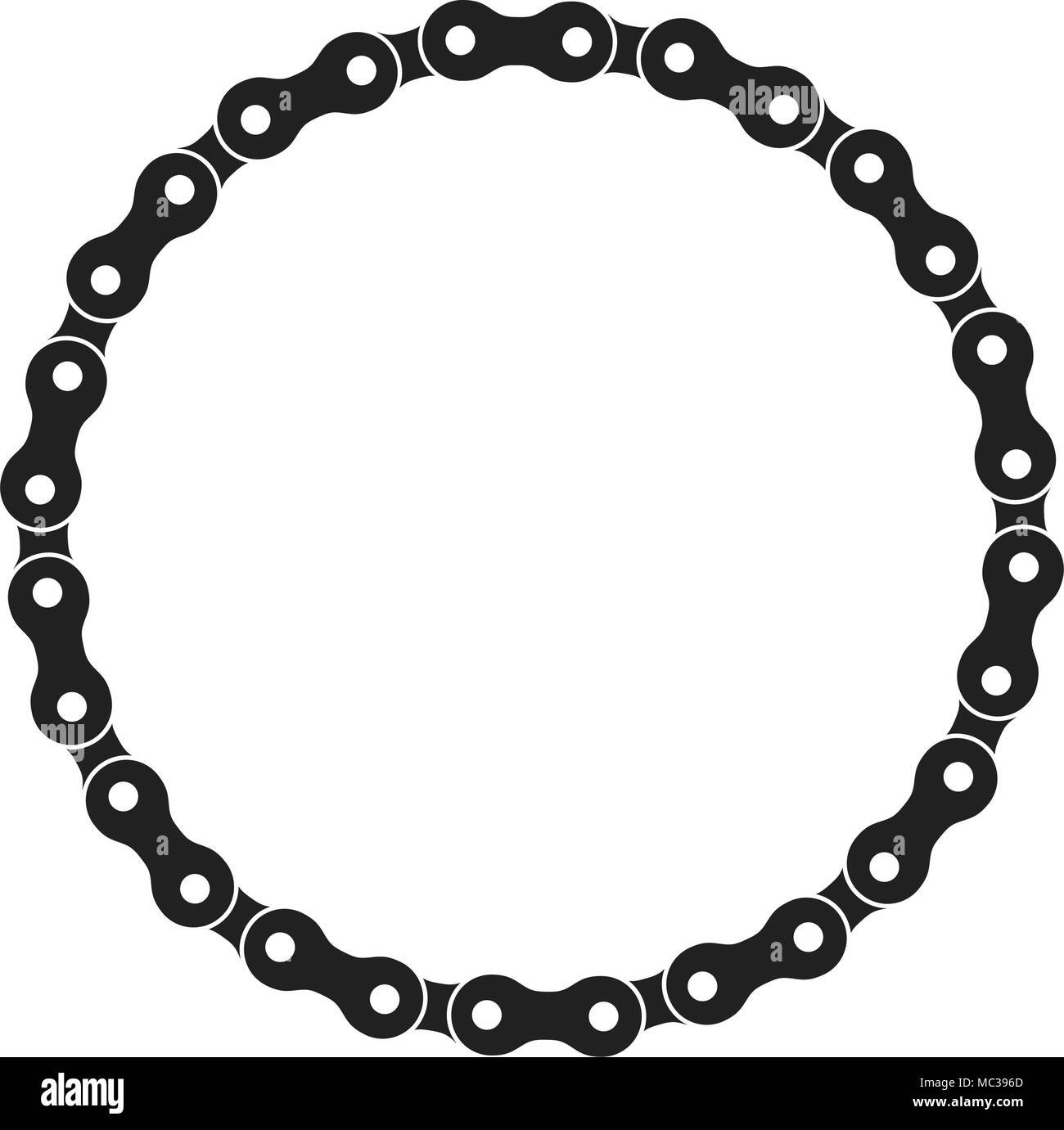 Round Vector Frame Made of Bike or Bicycle Chain. Monochrome Black ...