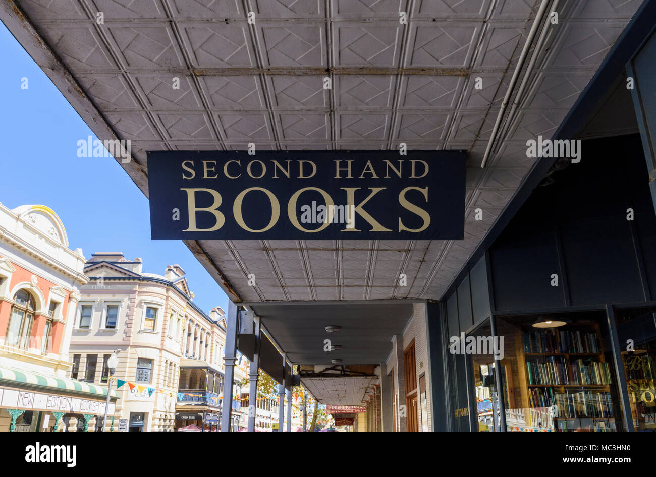 second hand books bookshop sign in historic fremantle western