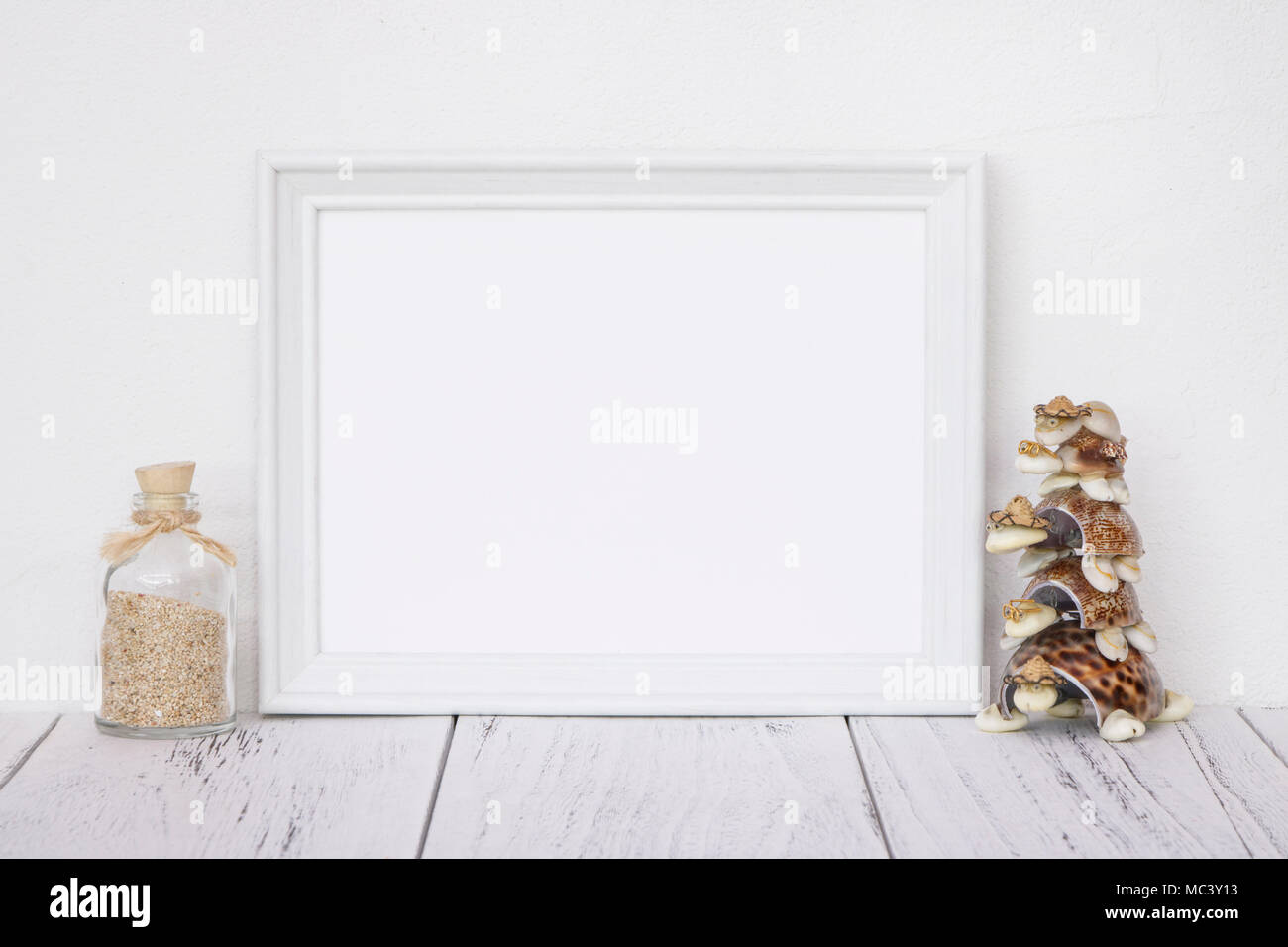 Stock photography white frame vintage painted wood table glass ...