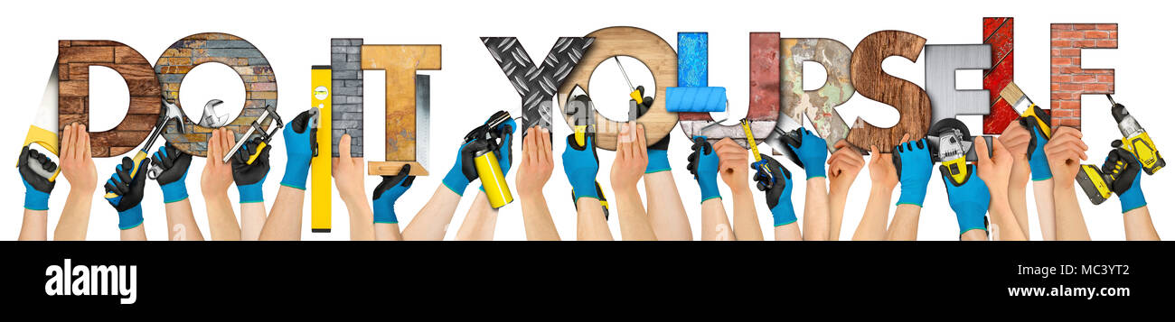 Hand with tools and diy do it yourself handyman lettering concept hand with tools and diy do it yourself handyman lettering concept isolated on wide panorama background solutioingenieria Choice Image