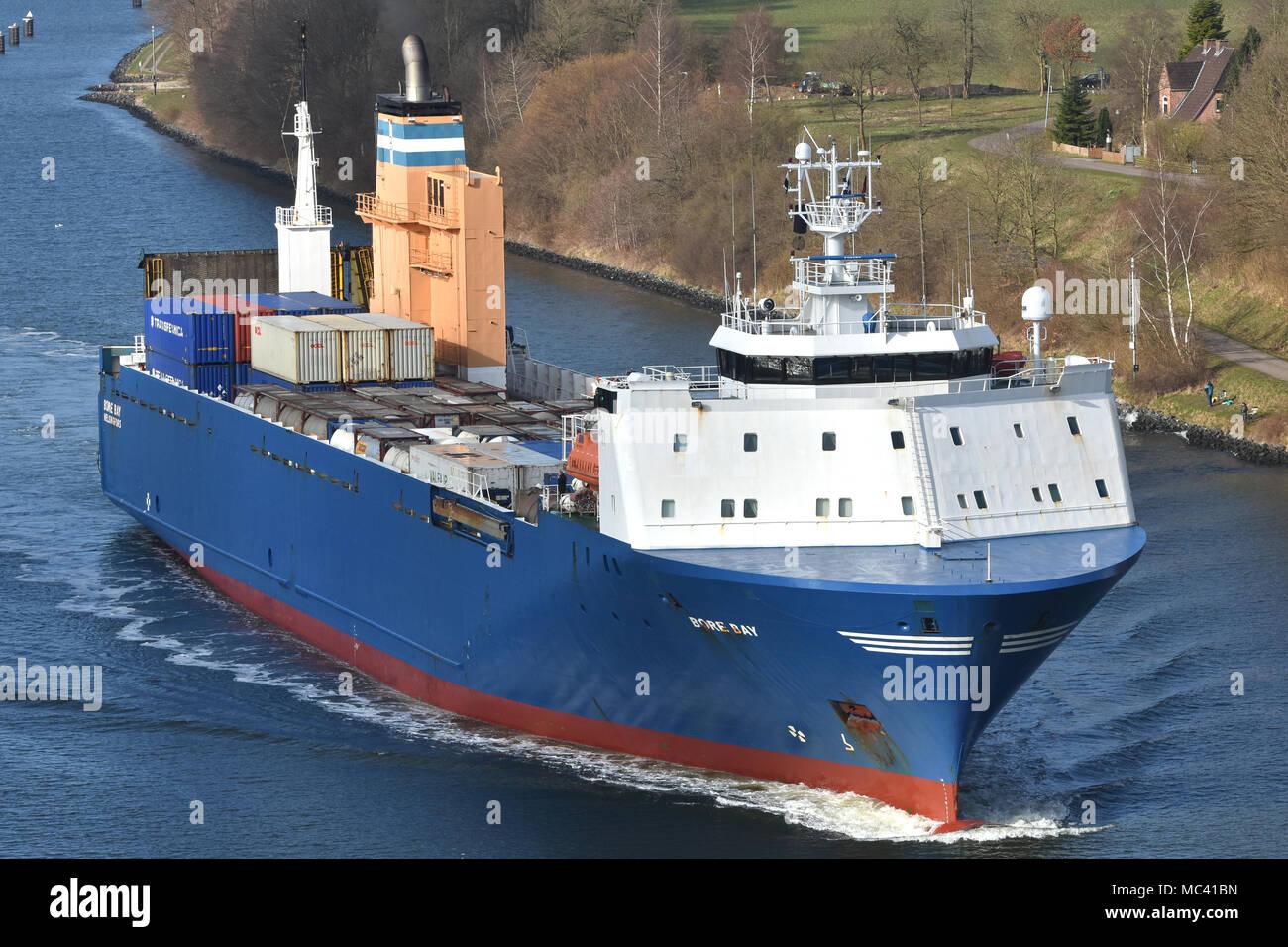 RO-RO-Vessel Bore Bay passing the Kiel Canal - Stock Image
