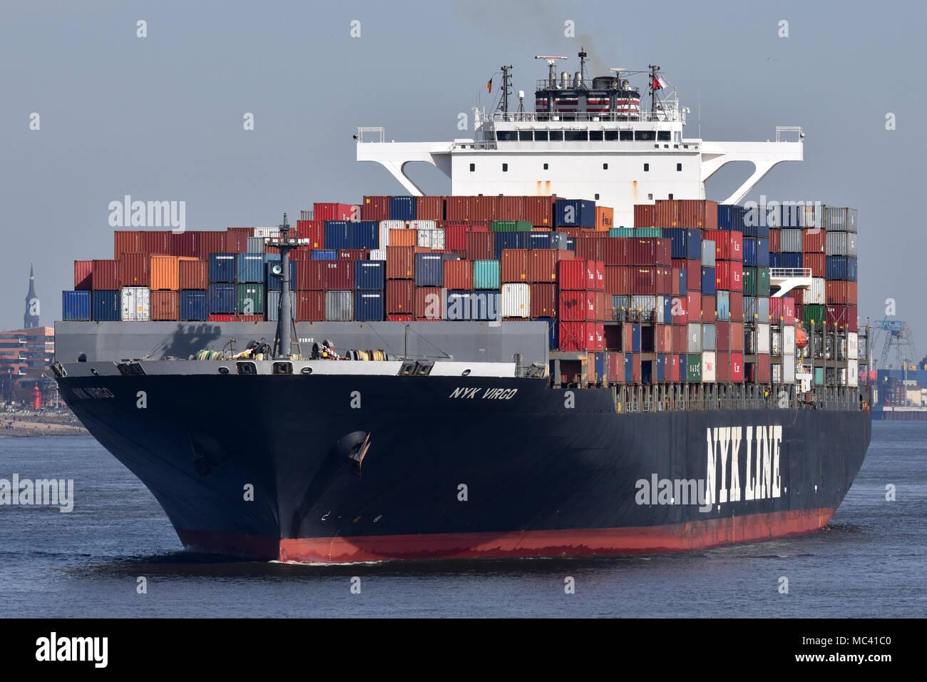 NYK Virgo leaving port of Hamburg - Stock Image
