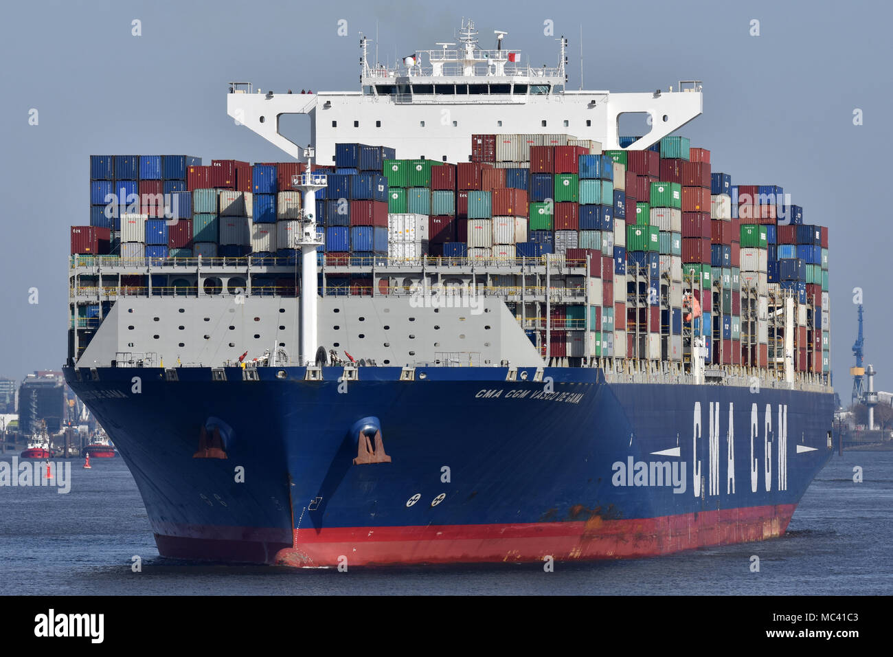 CMA CGM Vasco de Gama outbound from Hamburg - Stock Image