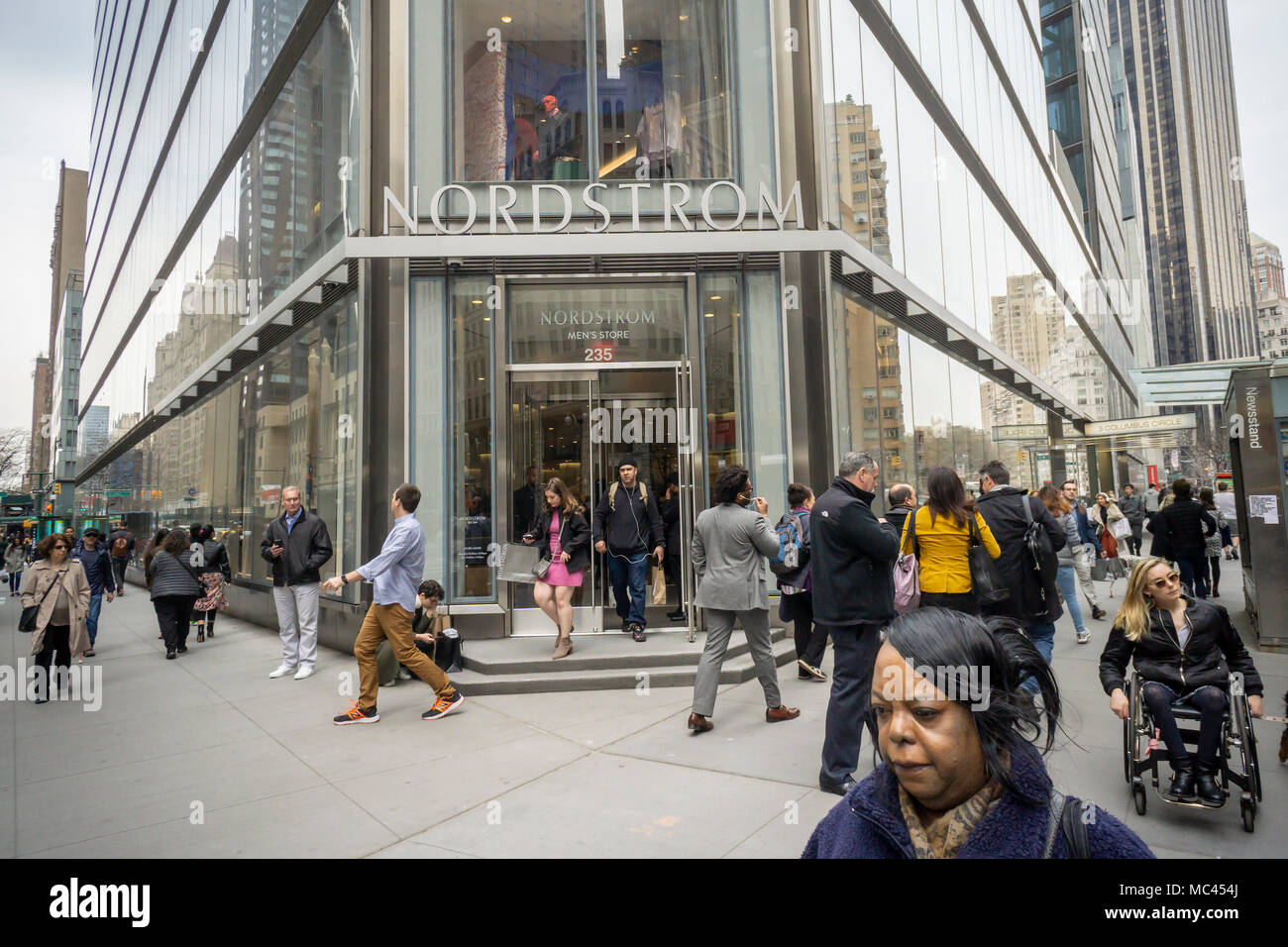 f7fc25a48 New York, USA. 12th Apr, 2018. Shoppers outside the new Nordstrom Men's  Store in Midtown Manhattan in New York on its grand opening day, Thursday,  April 12, ...