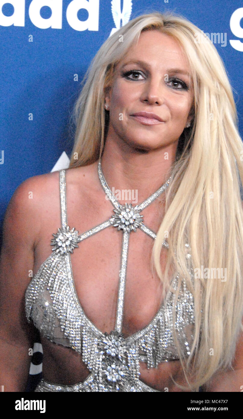 Beverly Hills, California, USA. 12th April, 2018. Recording Artist/honoree Britney Spears attends the 29th Annual GLAAD Media Awards at The Beverly Hilton Hotel on April 12, 2-18 in Beverly Hills, California. Photo by Barry King/Alamy Live News - Stock Image