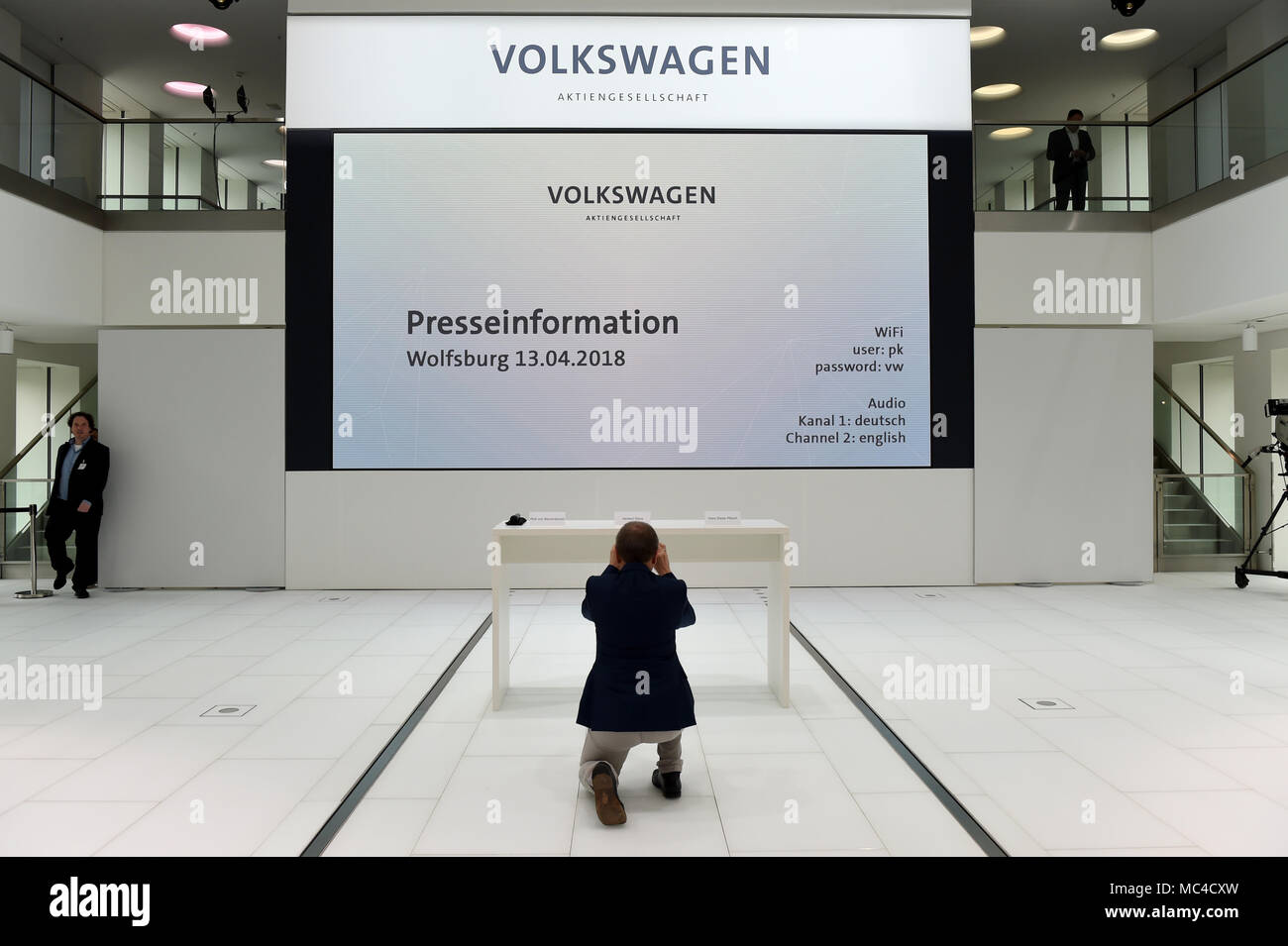 13 april 2018 germany wolfsburg a journalist photographing the