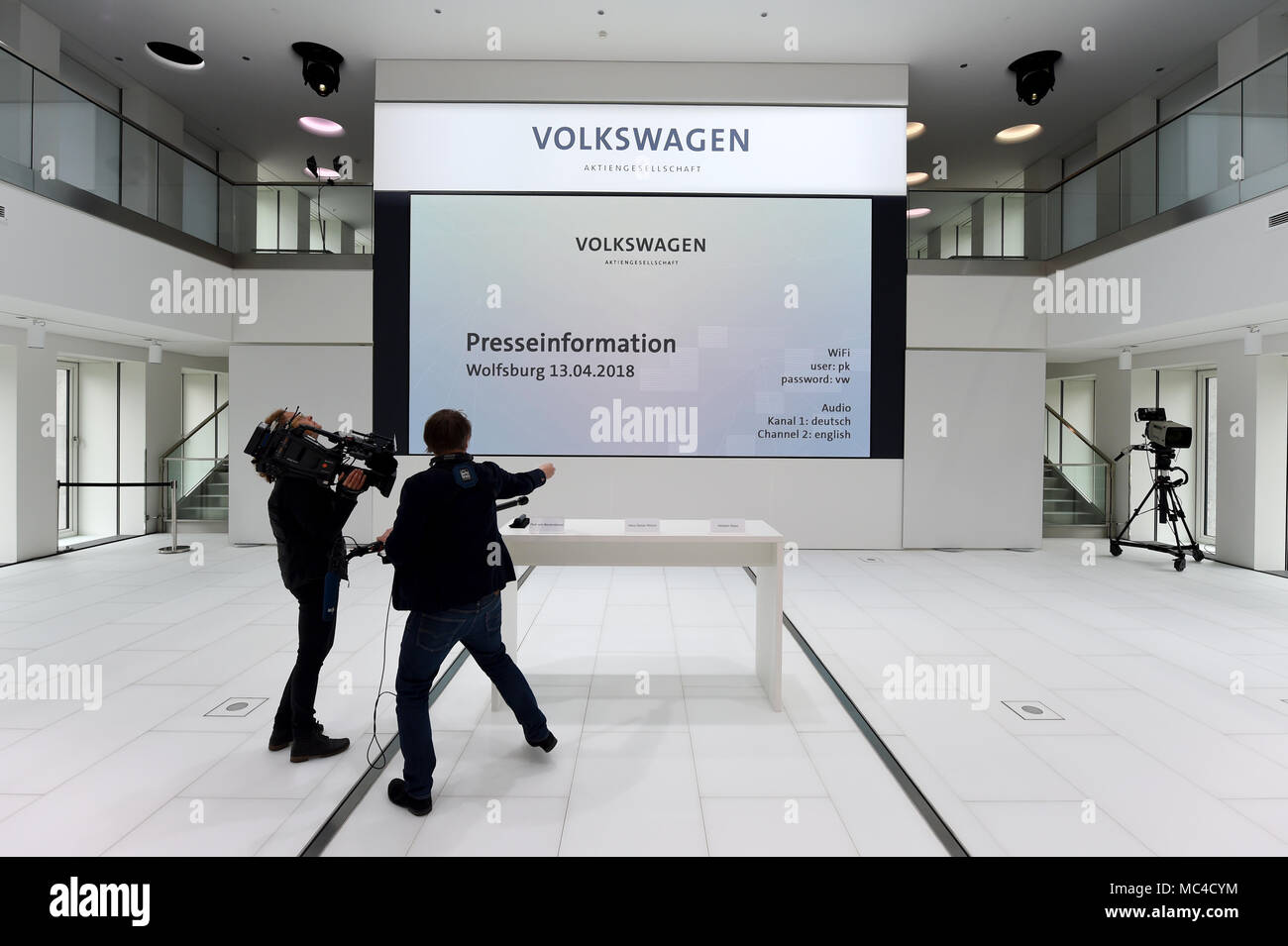 13 april 2018 germany wolfsburg a television team filming the