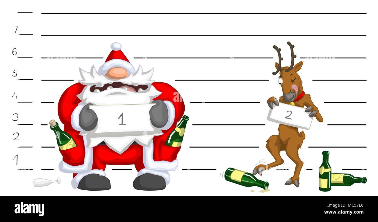 santa claus and reindeer drunk police lineup christmas party celebration humorous cartoon vector isolated - Drunk Christmas