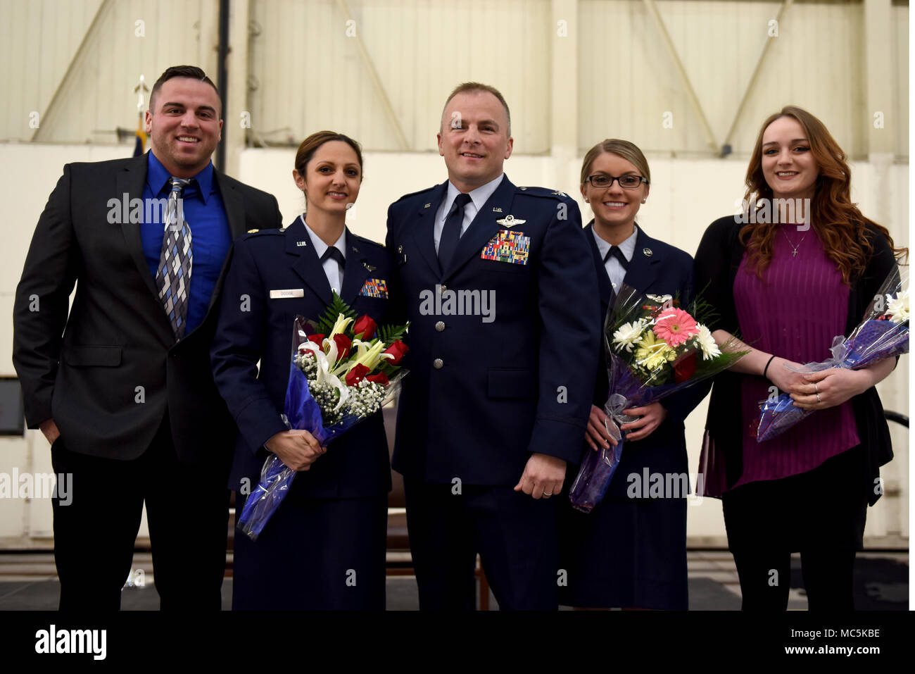 Gary Dodge Poses With His Family After They Pin Him To The Rank Of Colonel During Promotion Ceremony Held At North Carolina Air National Guard