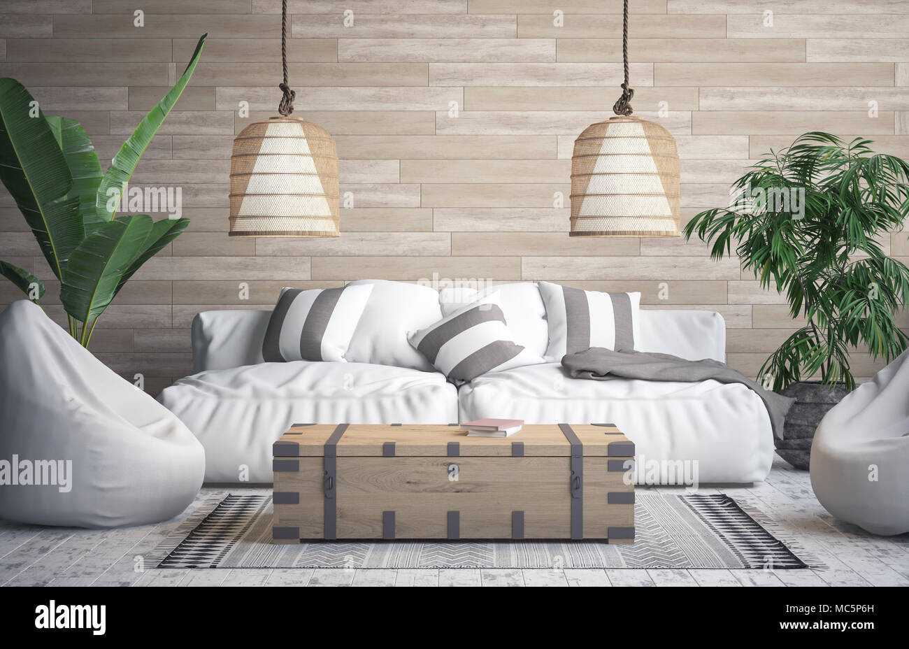 Tropical interior background 3d render