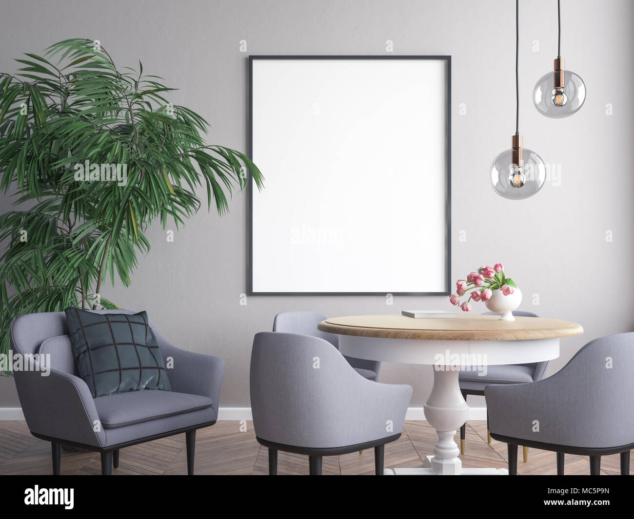 Mockup poster in the interior d illustration of a modern design