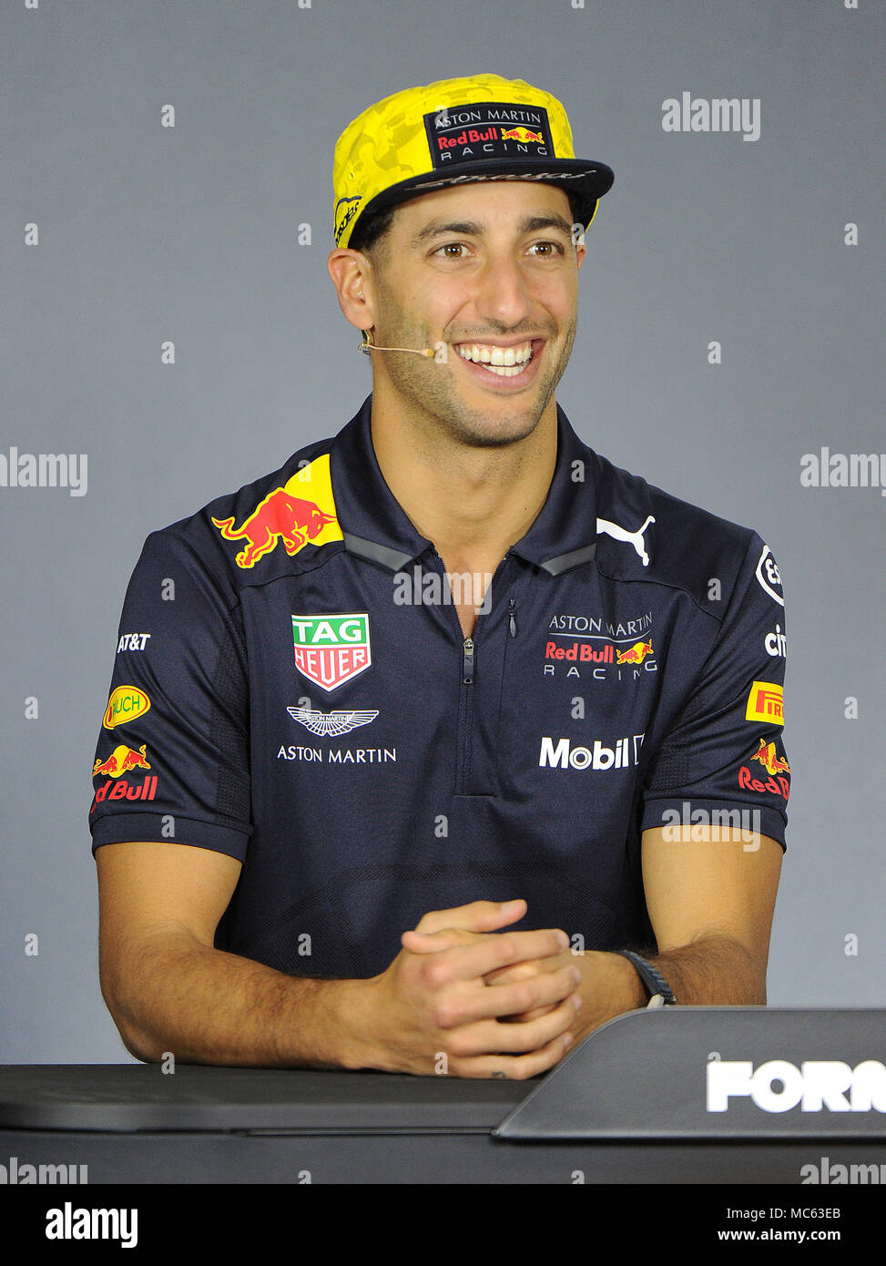 26f42448364 Daniel Ricciardo of Aston Martin Red Bull Racing. Day 1 of the 2018 Formula  1 Rolex Australian Grand Prix held at The circuit of Albert Park