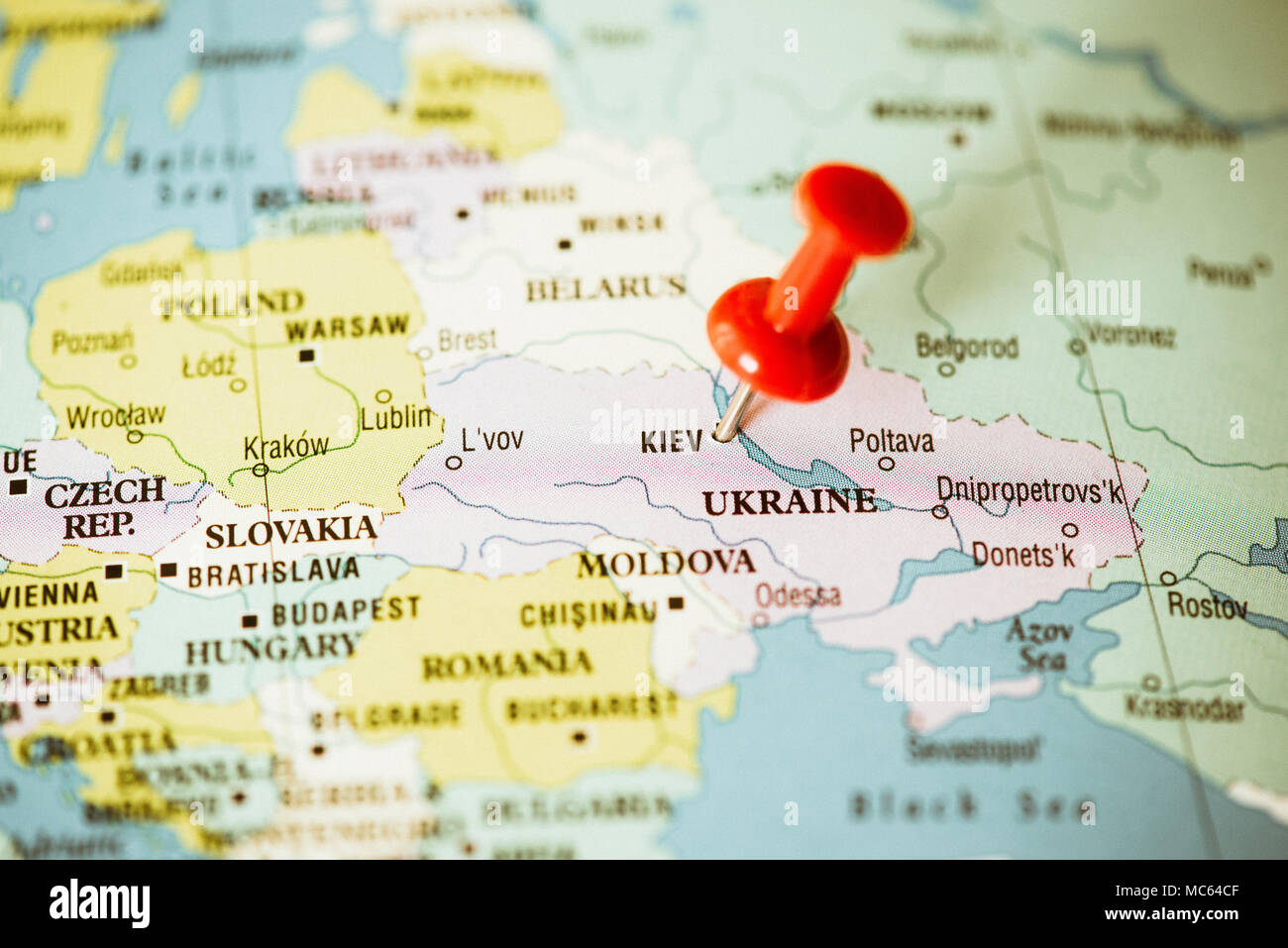 Ukraine and East Europe political map, red pin on Kiev Stock Photo ...