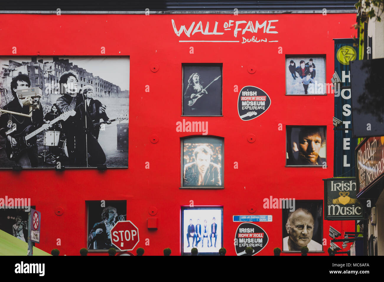 DUBLIN, IRELAND - April 12th, 2018: Wall of Fame in Dublin Temple Bar featuring images of the cit's most famous musicians and bands - Stock Image