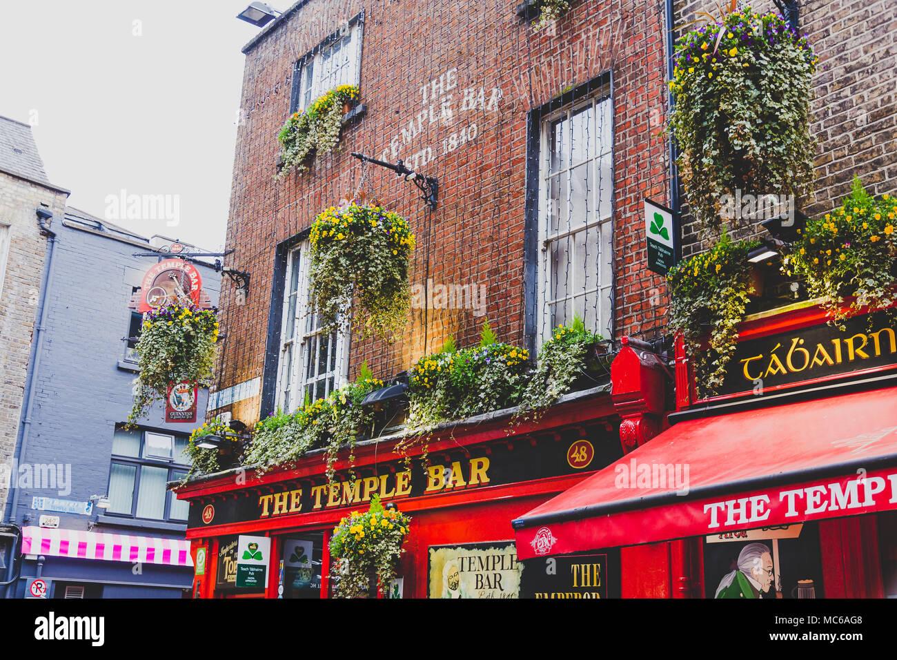 DUBLIN, IRELAND - April 12th, 2018: the Temple Bar pub in Dublin, arguably the most popular traditional Irish pub in Ireland - Stock Image