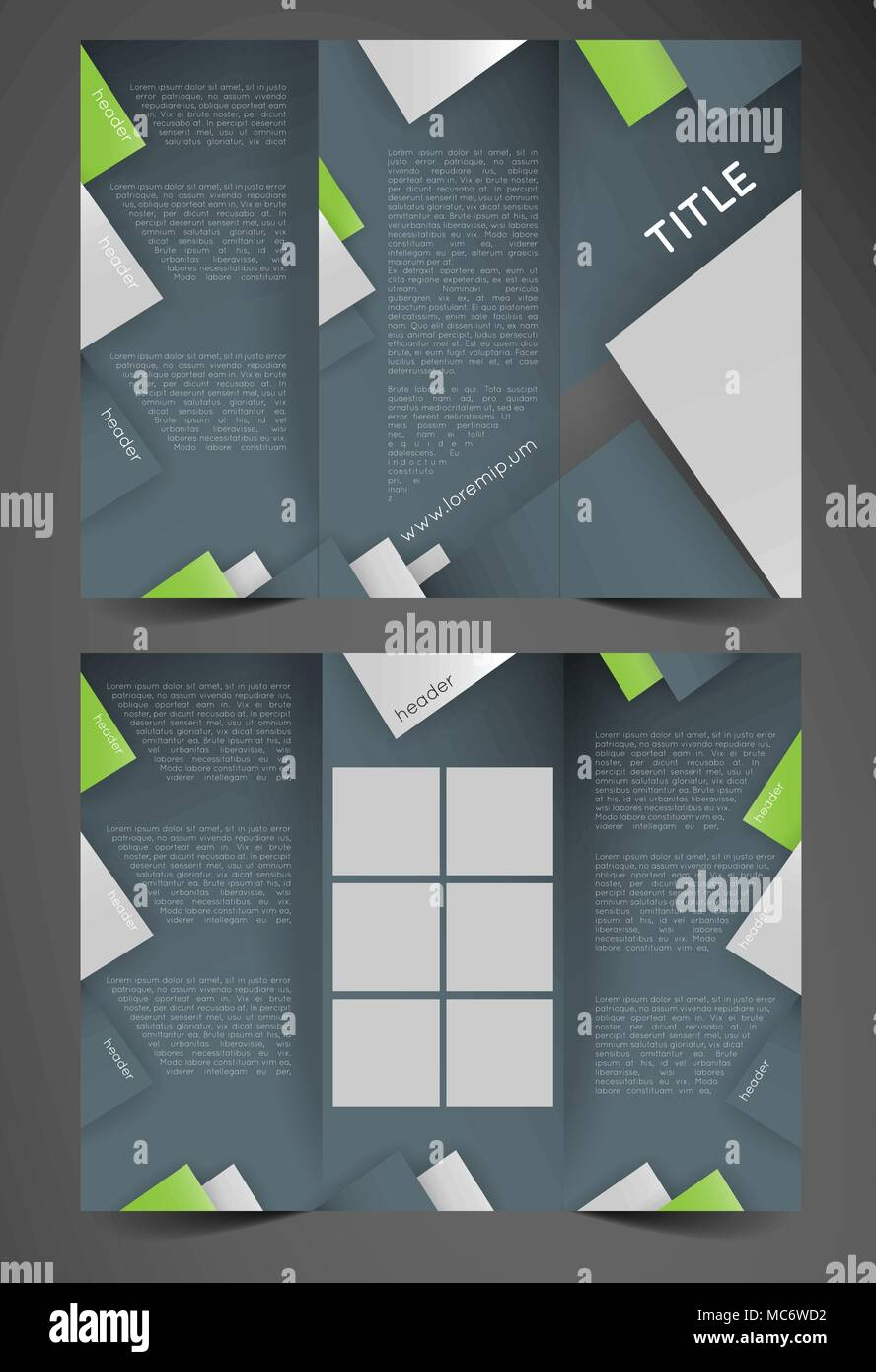 Trifold Brochure Template With Triangles Design Template Stock