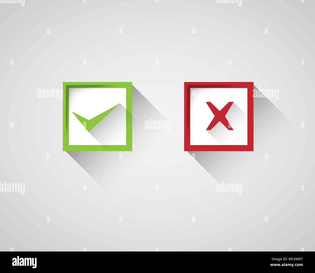 Right Wrong Square Sign Symbol Set Stock Vector Art Illustration