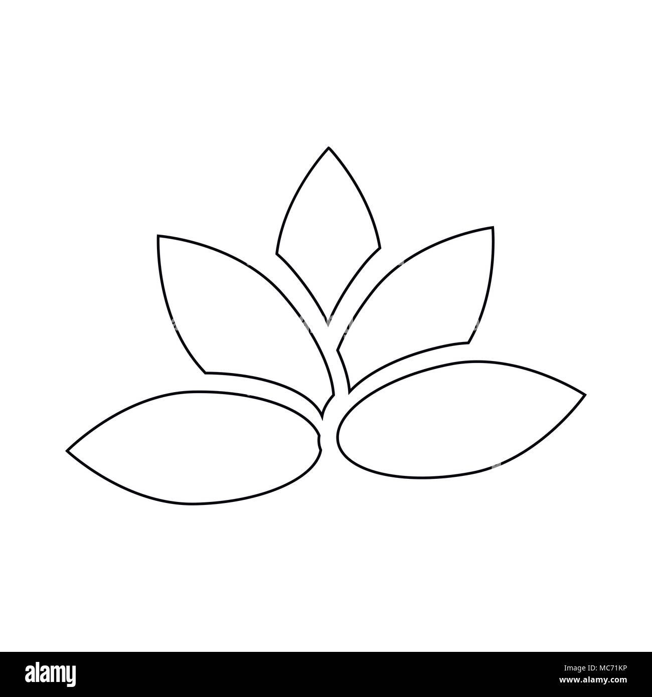 Lotus Flower Icon Outline Style Stock Vector Art Illustration