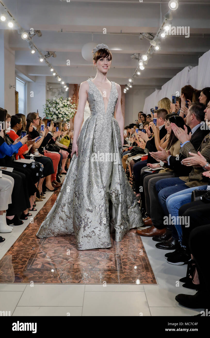 New York, USA. 12th Apr, 2018. Models walk the runway at the Theia runway show during New York Bridal Week at the Theia Showroom, Manhattan Credit: Sam Aronov/Alamy Live News - Stock Image
