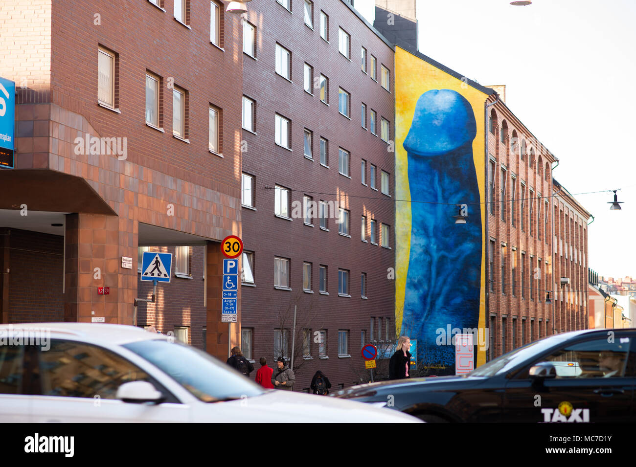 Stockholm, Sweden. 13th Apr, 2018. Controversial penis painting by Carolina Falkholt on house wall in central Stockholm, Sweden.  Credit: Barbro Bergfeldt/Alamy Live News - Stock Image
