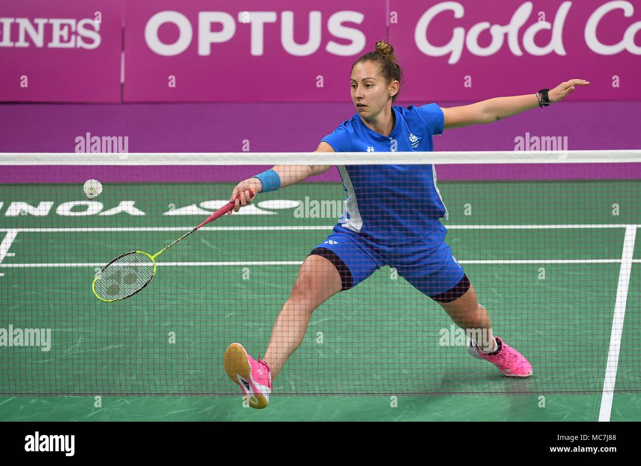 Queensland, Australia, 14 April 2018. Kirsty Gilmour (SCO). Womens singles. Semi final. Badminton. XXI Commonwealth games. Carrara Sports Hall 2. Gold Coast 2018. Queensland. Australia. Credit: Sport In Pictures/Alamy Live News - Stock Image