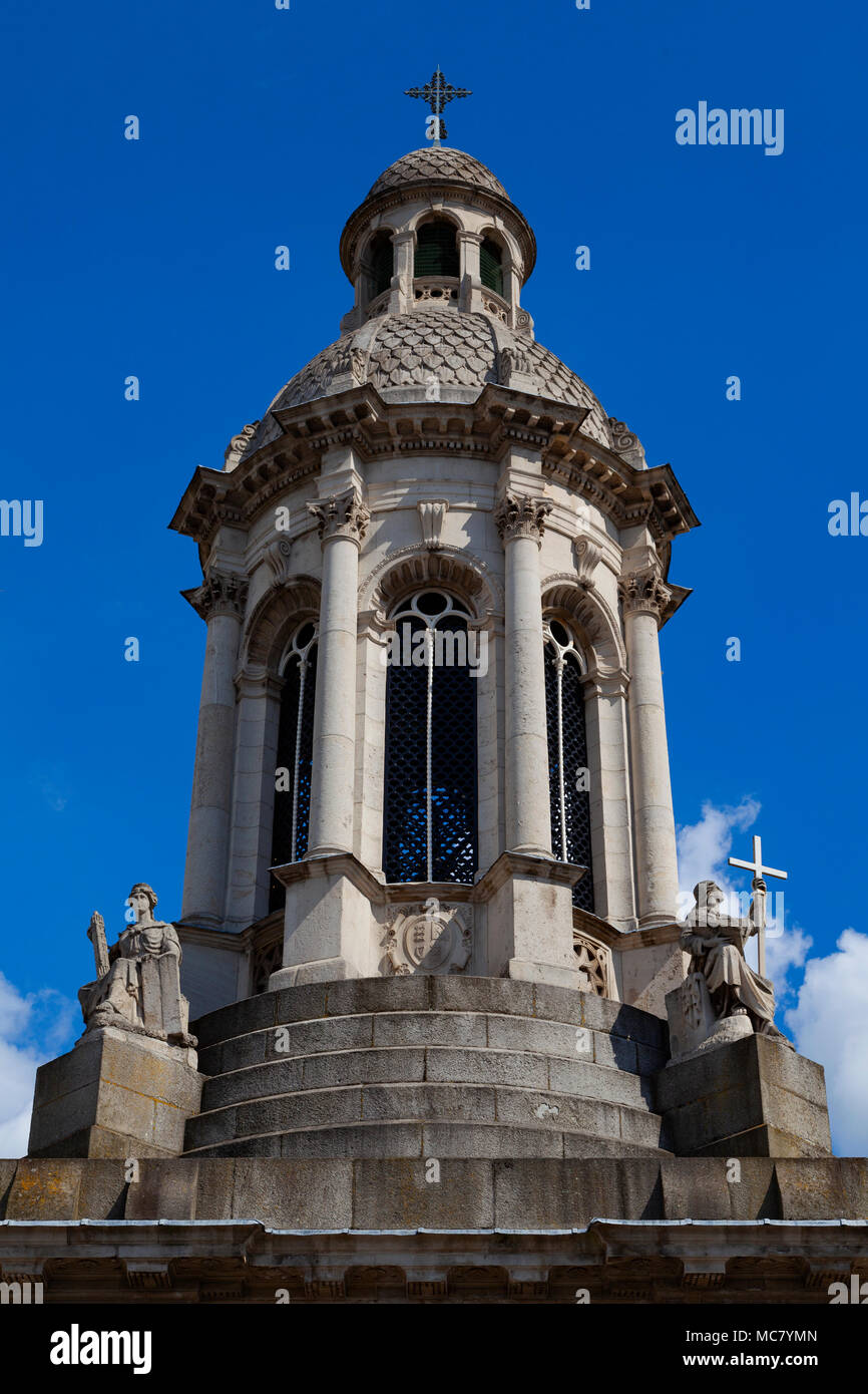 The Campanile, Parliament Square, Trinity College (College of the Holy and Undivided Trinity of Queen Elizabeth), Dublin, Ireland, top level - Stock Image