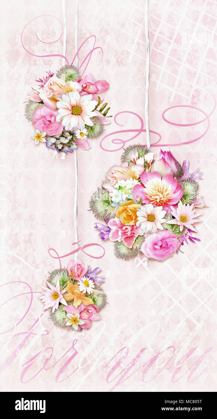 Colorful bouquets of various flowers isolated on a tender shabby colorful bouquets of various flowers isolated on a tender shabby chic gradient background with text for you can be used as greeting card invitation izmirmasajfo