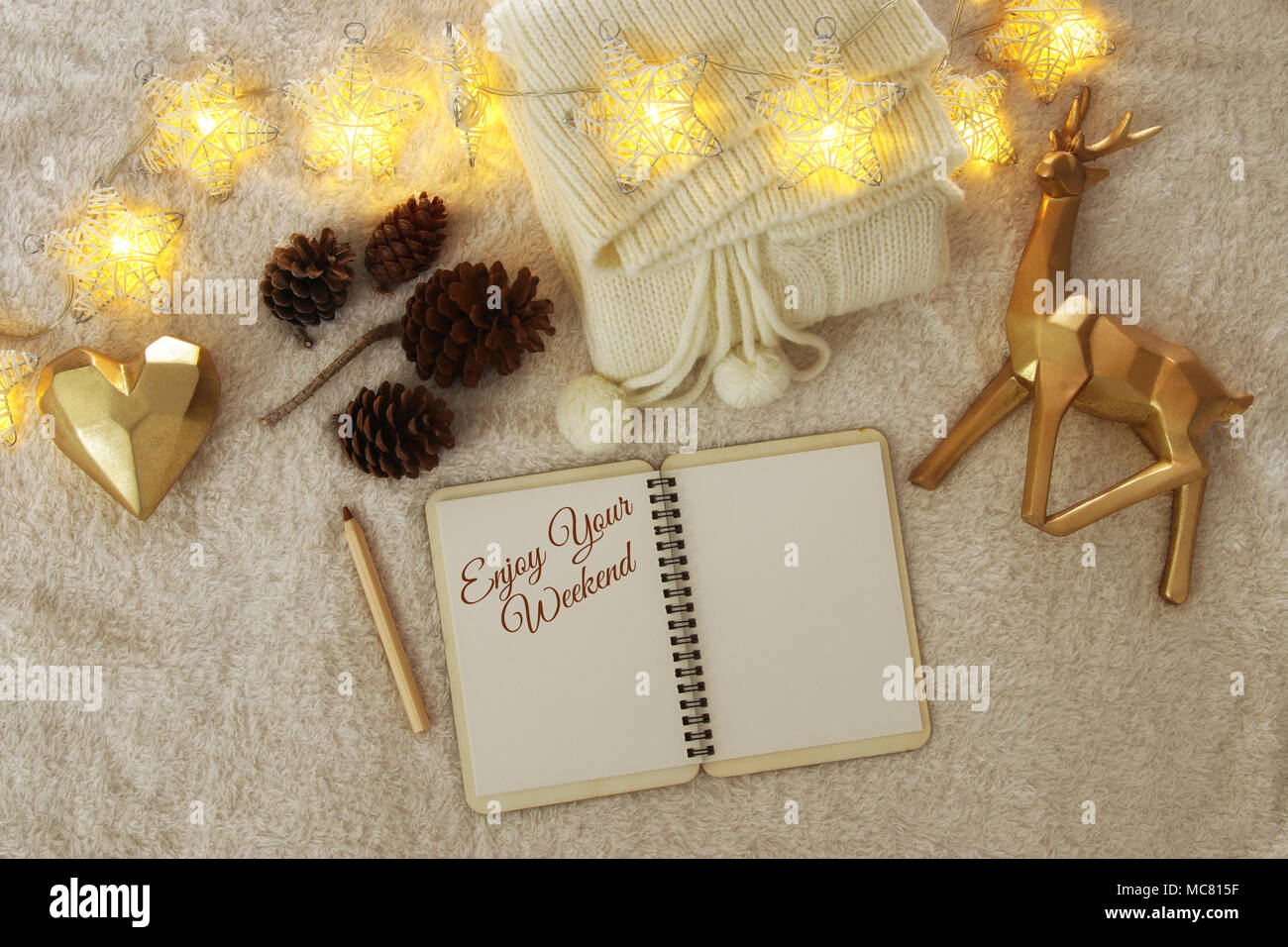 Notebook With Text Enjoy Your Weekend Over Cozy And Warm Fur Carpet