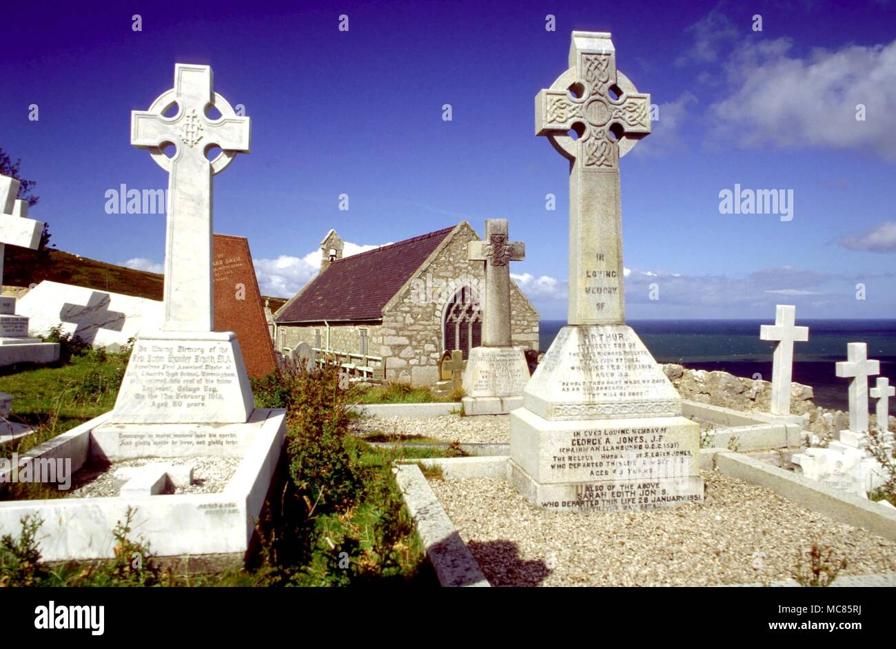 Graveyard St Tudnos Church Great Orme Symbols On Tombstones Stock