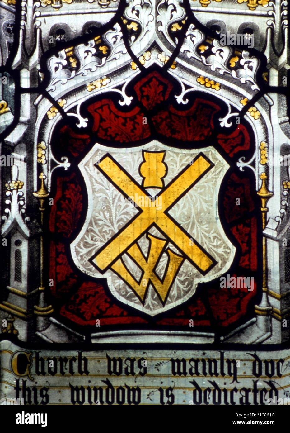 Christian Symbols Of Cross And Chalice With Old Symbol For Victory