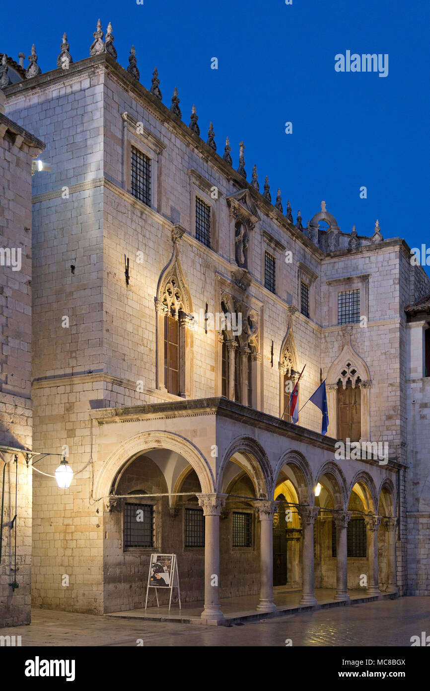 Sponza Palace, Luža Square, old town, Dubrovnik, Croatia - Stock Image