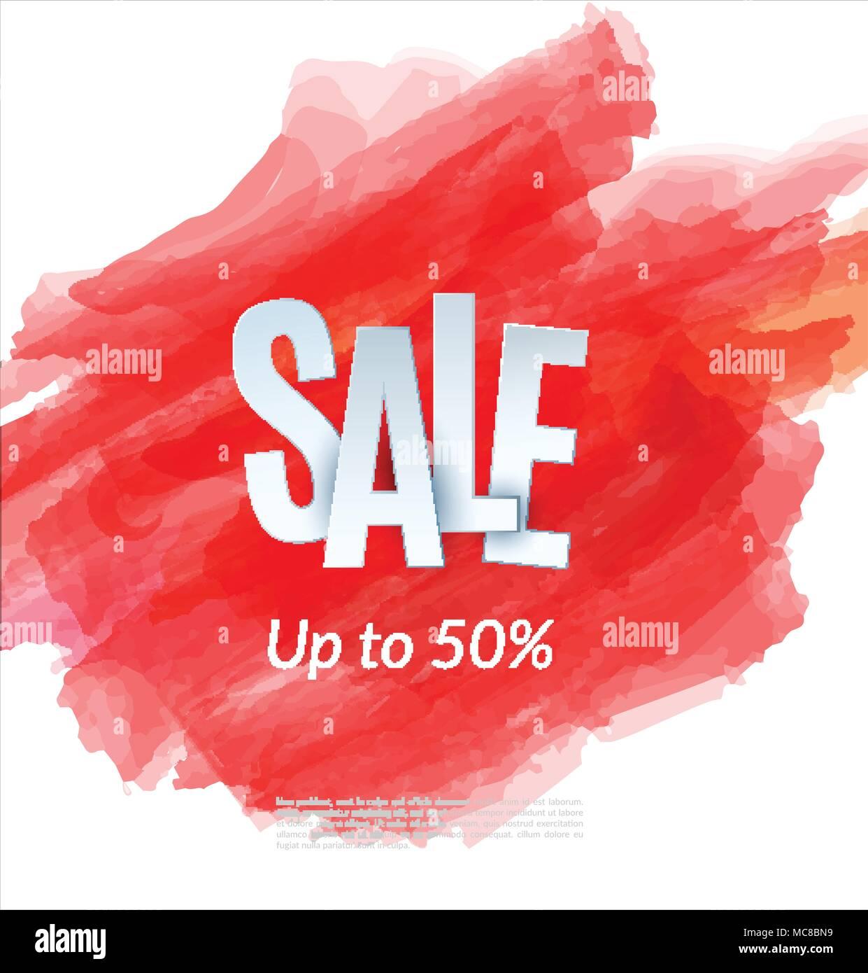 sale artistic banner template design on red sketch background