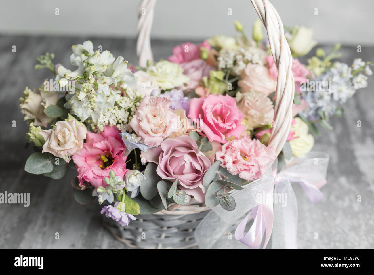 Beautiful Flower Composition A Bouquet In A Wicker Basket Floristry
