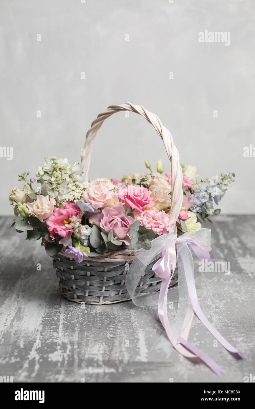 Beautiful Flower Composition A Bouquet In A Wicker Basket Floristry