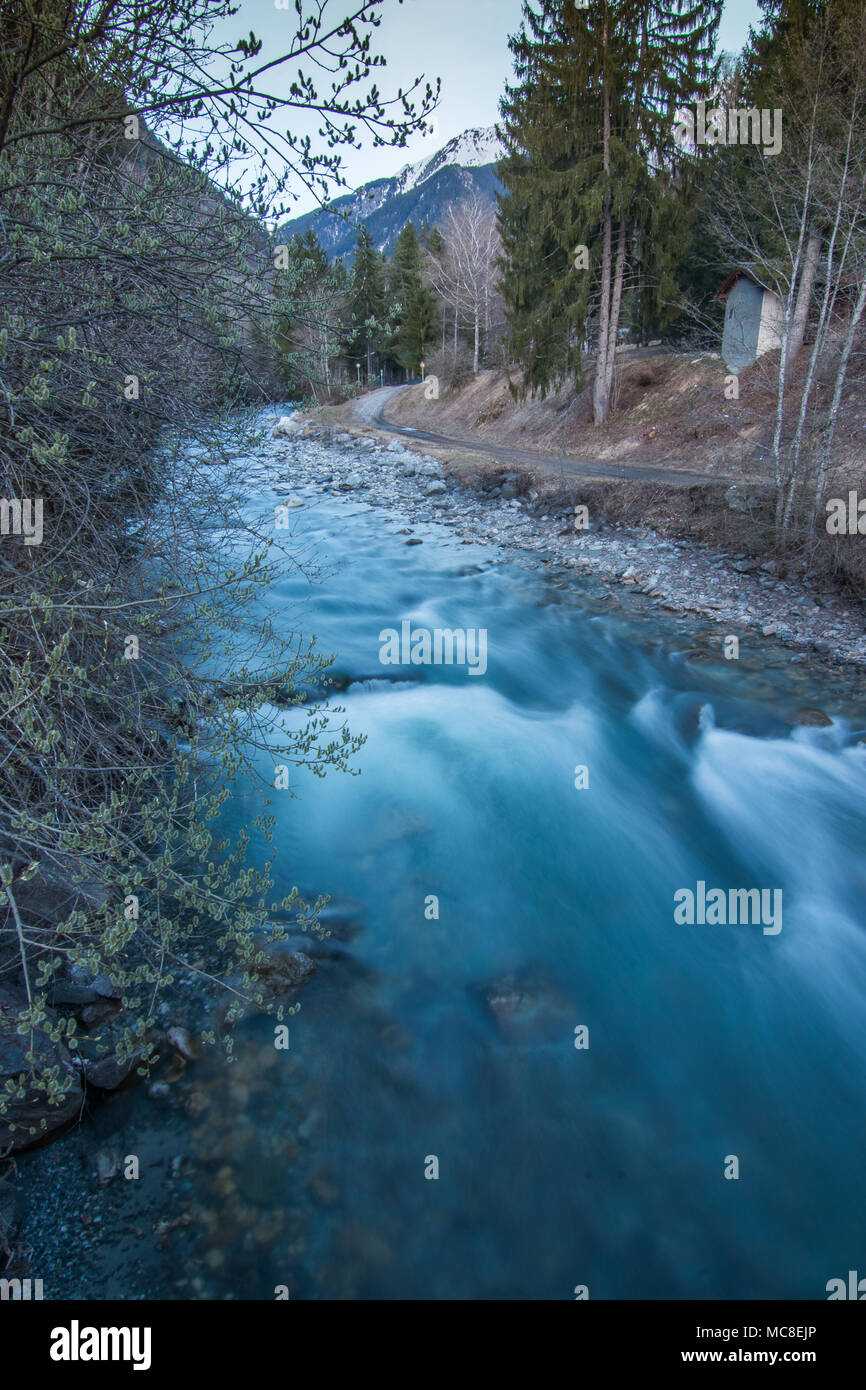 Water flowing in the mountain river - Stock Image