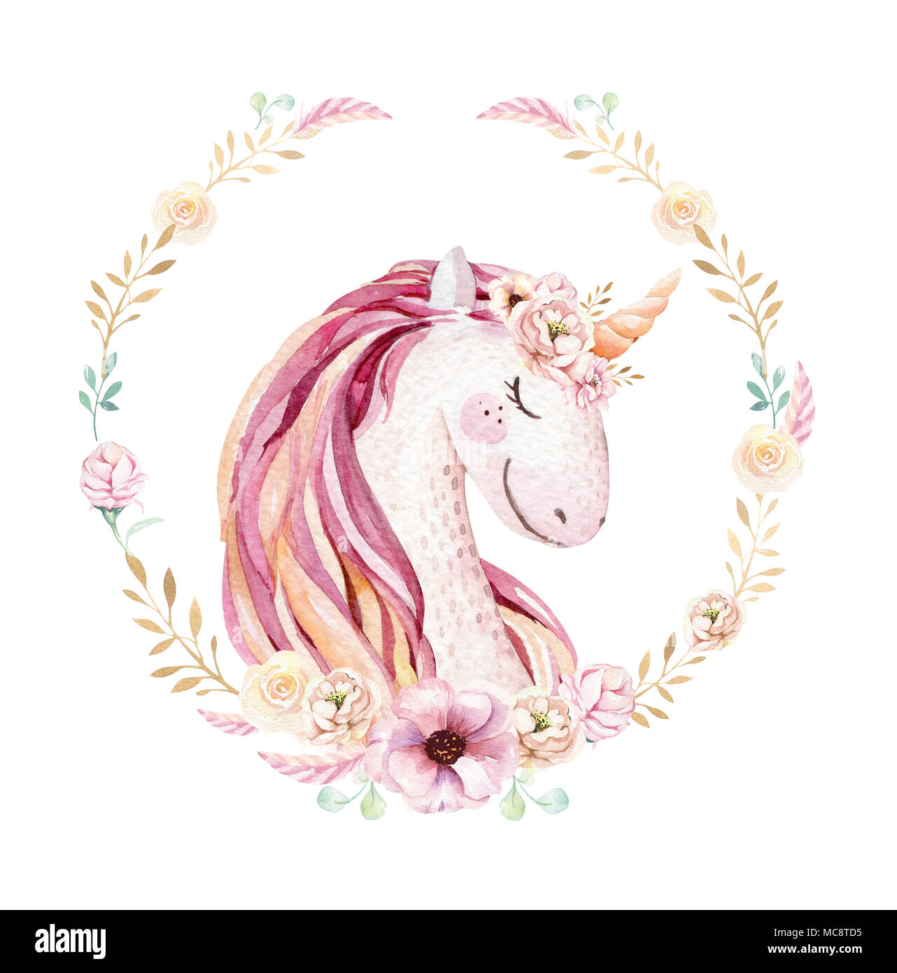 Isolated Cute Watercolor Unicorn Clipart With Flowers Nursery Unicorns Illustration Princess Rainbow Poster Trendy Pink Cartoon Pony Horse