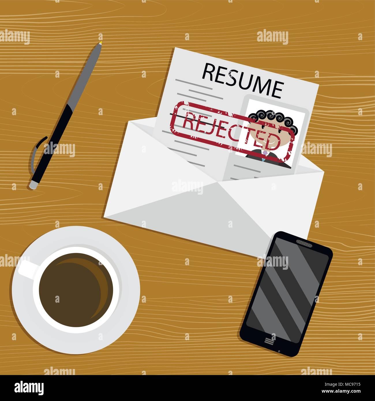 Rejected Job Concept Rejection Document Cv Employment Paper