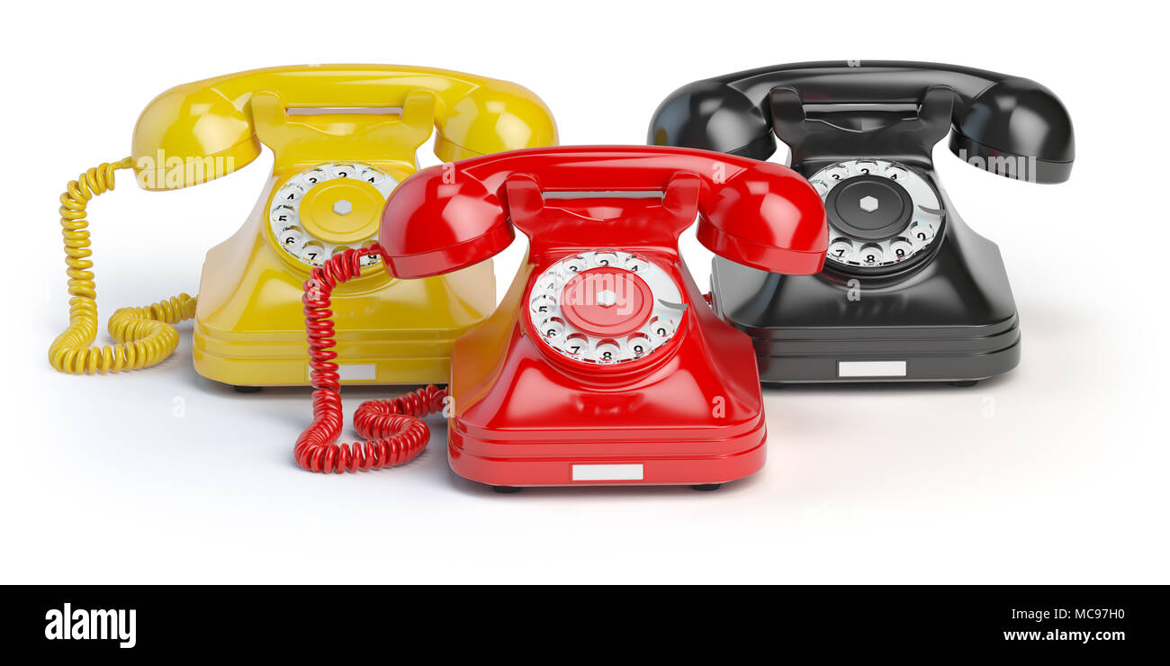 Group of  vintage telephones of differents colors isolated on white background. 3d illustration - Stock Image