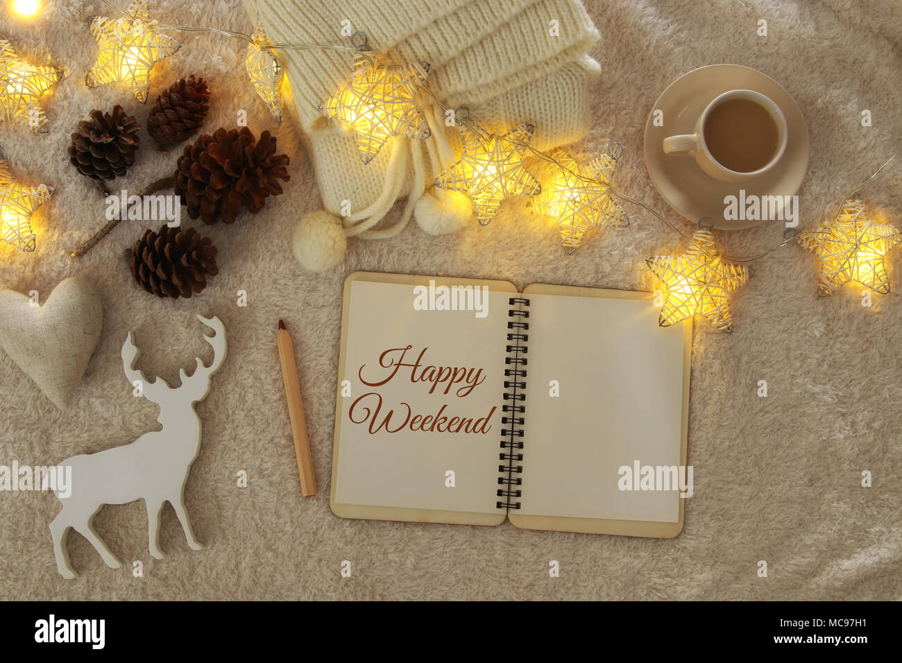 Notebook With Text Enjoy Your Weekend And Cup Of Cappuccino Over