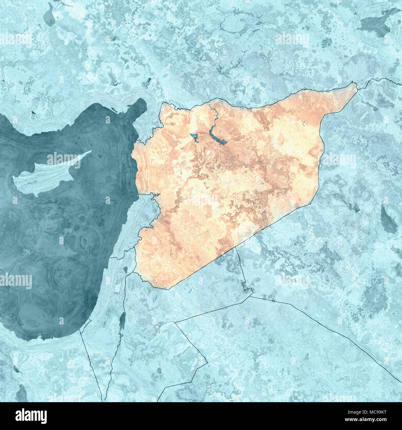 Map of Syria and borders, physical map Middle East, Arabian ...