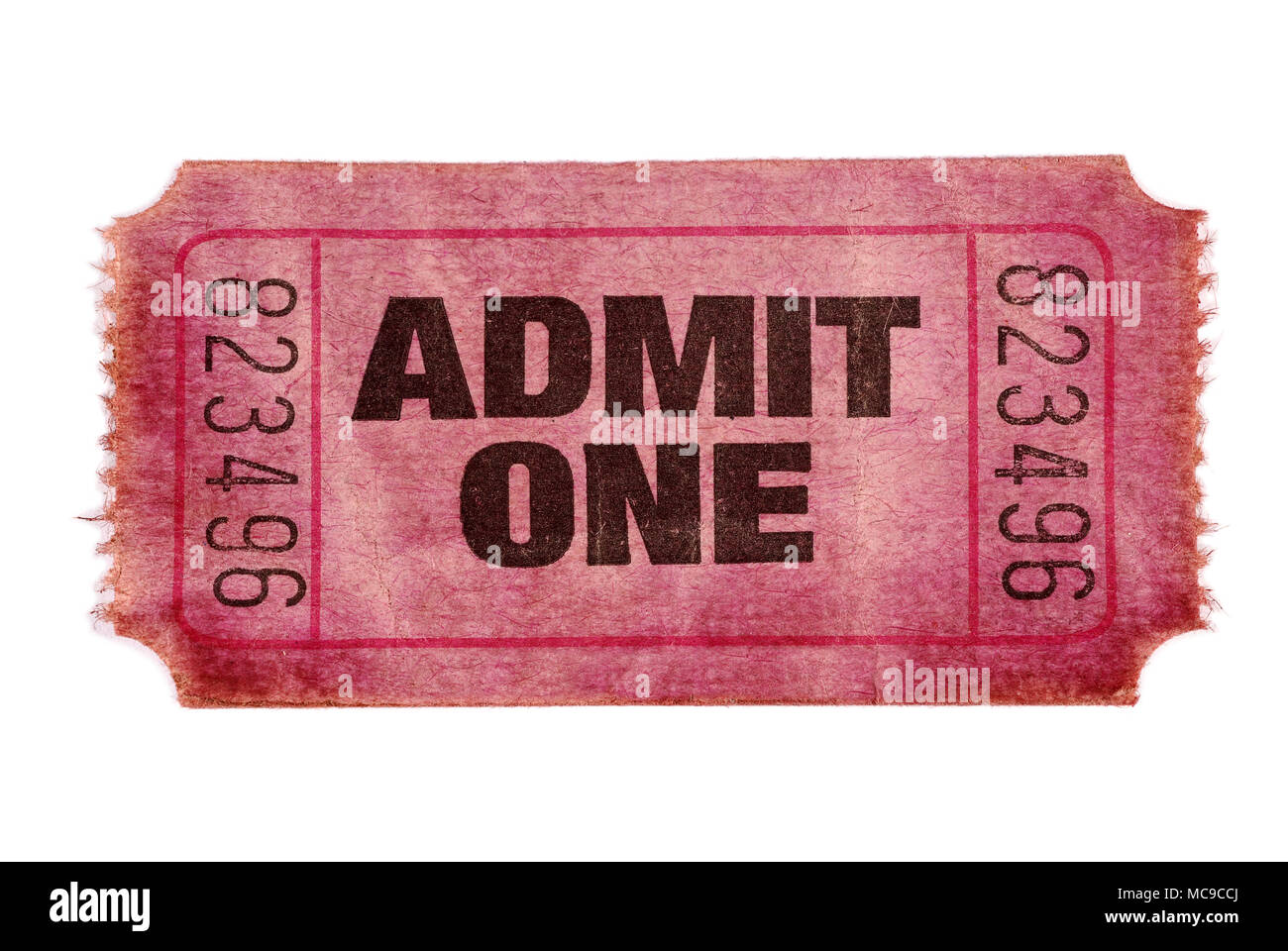 Old stained torn admit one ticket Stock Photo: 179686882 - Alamy