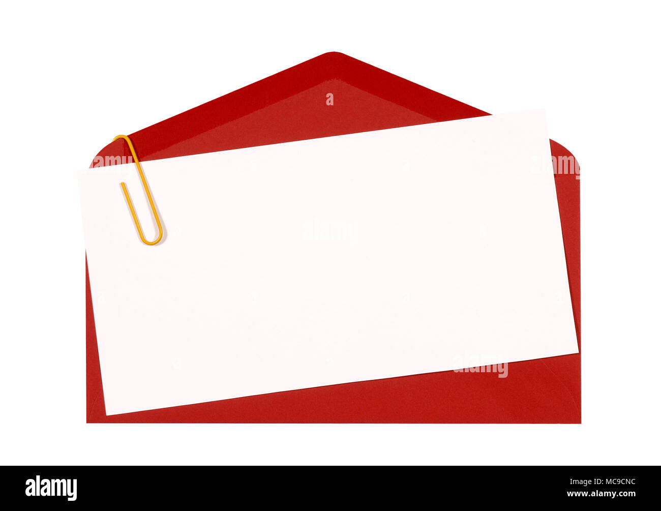 Red envelope with blank birthday invitation or greetings card top red envelope with blank birthday invitation or greetings card top view copy space isolated on white stopboris Images