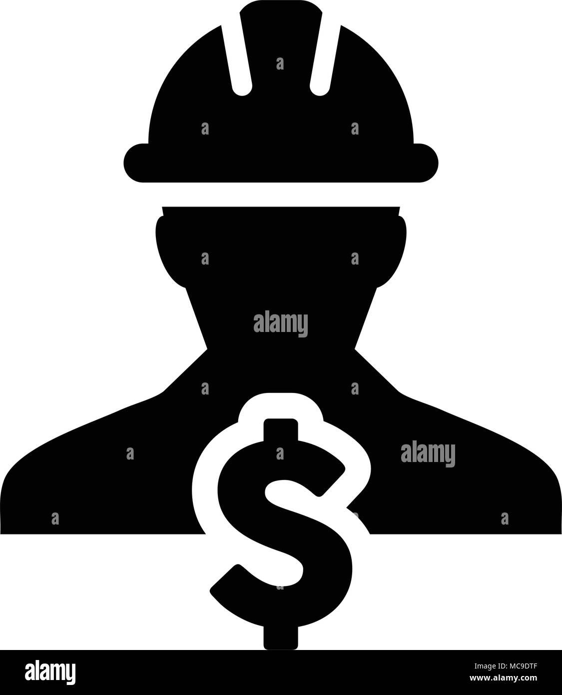 Construction Worker Icon Vector Dollar Sign Symbol With Male Person